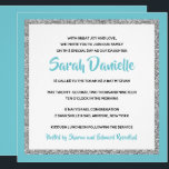 """Blue and Silver Bat Mitzvah Invitation<br><div class=""""desc"""">This trendy Bat Mitzvah invitation features sparkling faux glitter layered against a solid color background.  Use the template form to add your own information.  The """"Customize"""" feature can be used to change the font style,  color and layout.</div>"""