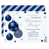 Blue and Silver Baubles Christmas Party Invitation