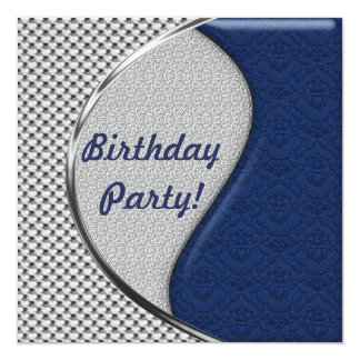 Blue and Silver Birthday Party Invitations