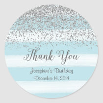 Blue and Silver Birthday Stickers