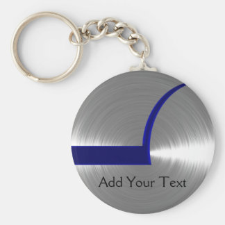 Blue and Silver Brushed Metal Basic Round Button Keychain