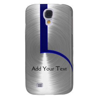 Blue and Silver Brushed Metal Galaxy S4 Case
