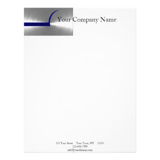 Blue and Silver Brushed Metal Letterhead