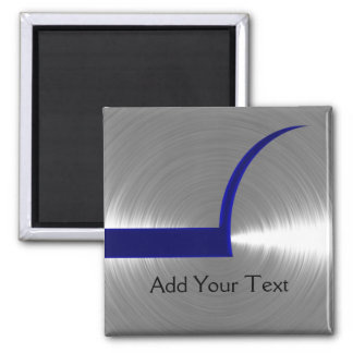 Blue and Silver Brushed Metal Magnet