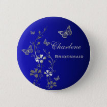 Blue and Silver Butterfly Floral Bridesmaid Pin
