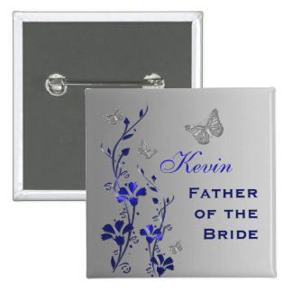 Blue and Silver Butterfly Floral Father Pin