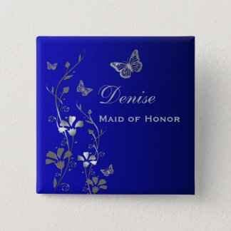 Blue and Silver Butterfly Floral MOH Pin