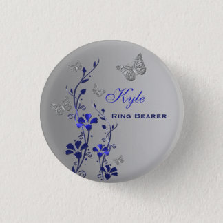 Blue and Silver Butterfly Floral Ring Bearer Pin