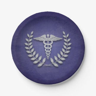 Blue and Silver Caduceus Medical Graduation Paper Plate