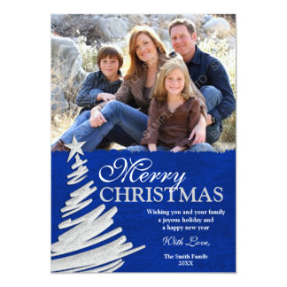Blue and Silver Christmas Tree Holiday Photo Card