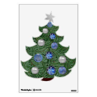 Blue and Silver Christmas Tree Wall Decor