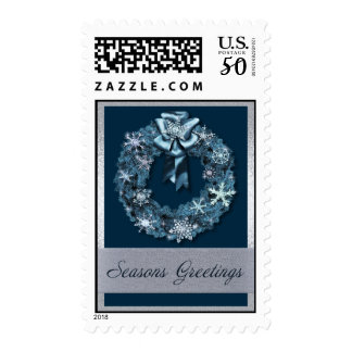 Blue and Silver Christmas Wreath Postage