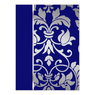 Blue and Silver Damask Card