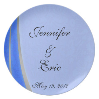 Blue and Silver Damask Dinner Plates