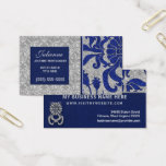 Blue and Silver Damask Professional Business Business Card