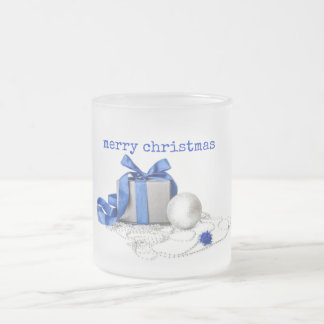 Blue And Silver Festive Art Frosted Glass Coffee Mug