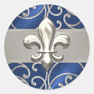 Blue and Silver Filigree Swirls Fleur de Lis Classic Round Sticker