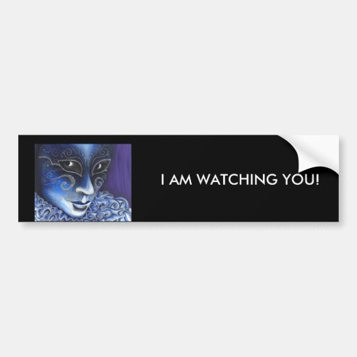 Blue and Silver Flair Carnival Mask Painting Bumper Sticker