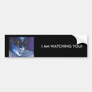 Blue and Silver Flair Carnival Mask Painting Car Bumper Sticker