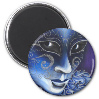 Blue and Silver Flair Carnival Mask Painting Magnet