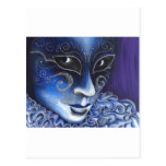 Blue and Silver Flair Carnival Mask Painting Postcard