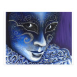 Blue and Silver Flair Carnival Mask Painting Postcards