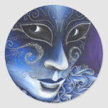 Blue and Silver Flair Carnival Mask Painting Stickers