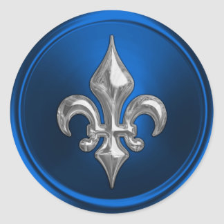Blue and Silver Fleur de Lis Envelope Seal Classic Round Sticker