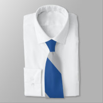 Blue and Silver Force Broad University Stripe Neck Tie