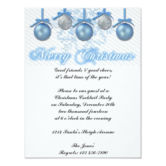 Blue and Silver Glitter Ornaments Christmas Party Card