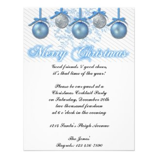 Blue and Silver Glitter Ornaments Christmas Party Announcement