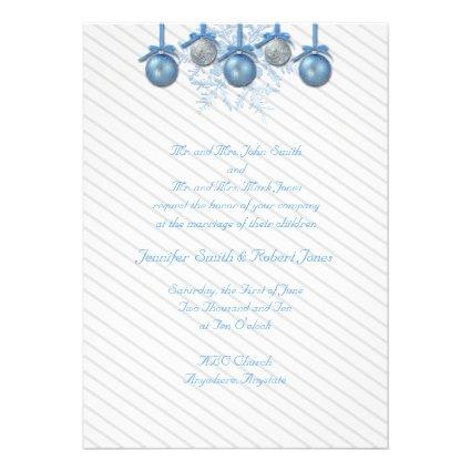 Blue and Silver Glitter Ornaments Personalized Invitation