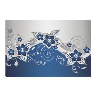 Blue and Silver Gray Floral Laminated Placemat
