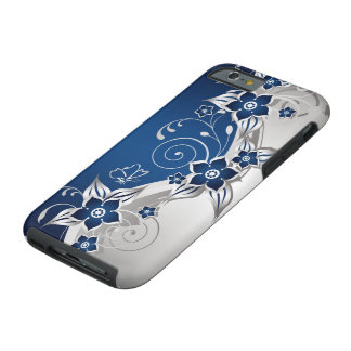 Blue and Silver Gray Floral Tough iPhone 6 Case