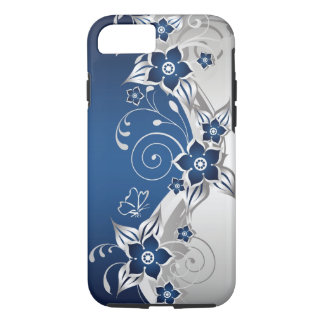 Blue and Silver Gray Floral Tough iPhone 7 Case