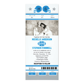 Blue and Silver Gray Green Football Ticket Wedding Card