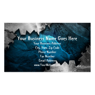 Blue and Silver Grunge Metal Stone Design Business Cards