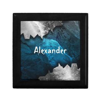 Blue and Silver Grunge Metal/Stone Design Keepsake Box