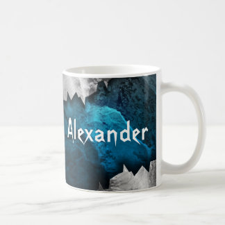 Blue and Silver Grunge Metal/Stone Design Mugs