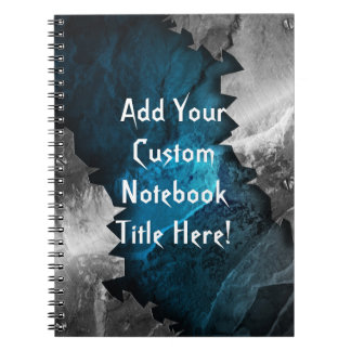 Blue and Silver Grunge Metal/Stone Design Spiral Notebook