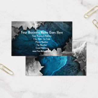 Blue and Silver Grunge Metal/Stone Music Band Rock Business Card