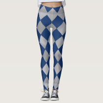 Blue and Silver Harlequin Patterned Leggings