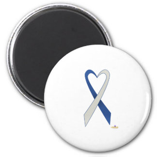 Blue And Silver Heart Shaped Awareness Ribbon Magnets