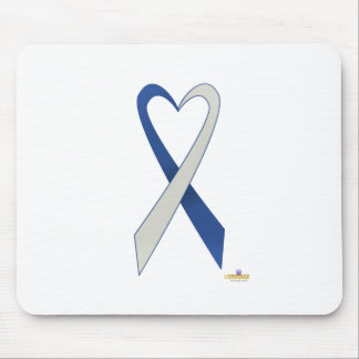 Blue And Silver Heart Shaped Awareness Ribbon Mouse Pad
