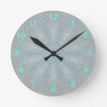 Blue and Silver Kaleidoscope Star Pattern Clock
