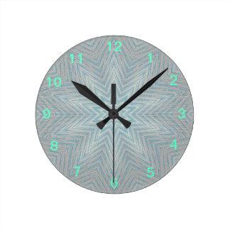 Blue and Silver Kaleidoscope Star Pattern Clock