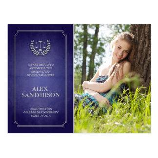 Blue and Silver Law School Graduation Announcement Postcard