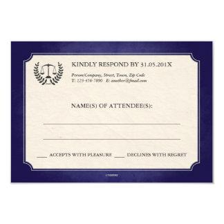 Blue and Silver Legal/Law School Graduation RSVP 3.5x5 Paper Invitation Card