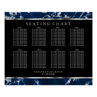 Blue and Silver Marble - 10 Seating Chart