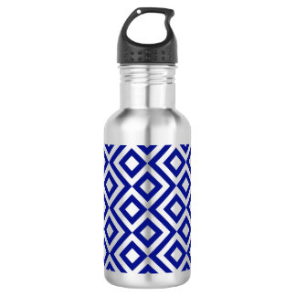 Blue and Silver Meander Stainless Steel Water Bottle